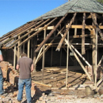 Beginning the historic Octagonal Drive Shed restoration - April 2010