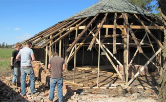 Beginning the historic Octagonal Drive Shed restoration - April 2010